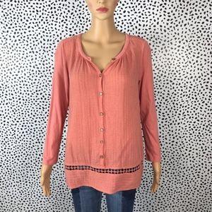 Lucky brand peach boho blouse size medium